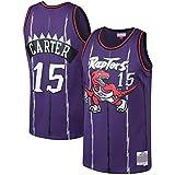 Basketbal Jerseys T-Shirts Sweatshirts - Toronto Raptors # 15 Vince Carter Unisex Mouwen Retro Geborduurde Mesh Basketball Fan Jersey Top, Purple-M