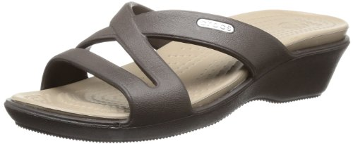 Criss Cross Wedge Sandal (Crocs Patricia II, Damen Offene Sandalen mit Keilabsatz, Braun (Espresso/Mushroom), 42-43 EU)