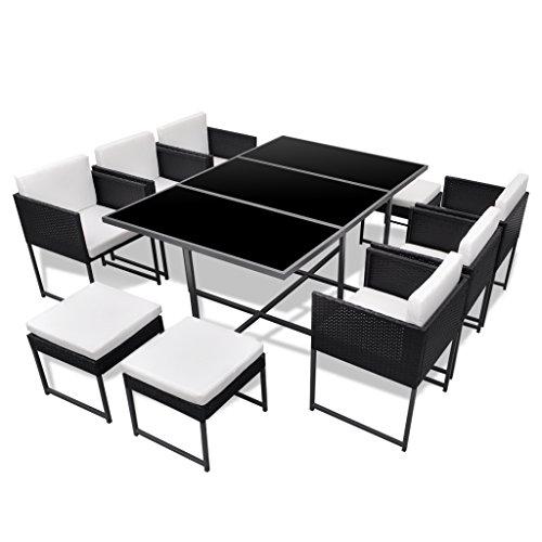 vidaXL 27-tlg. Gartenmöbel-Set Essgruppe schwarz Poly Rattan günstig ...
