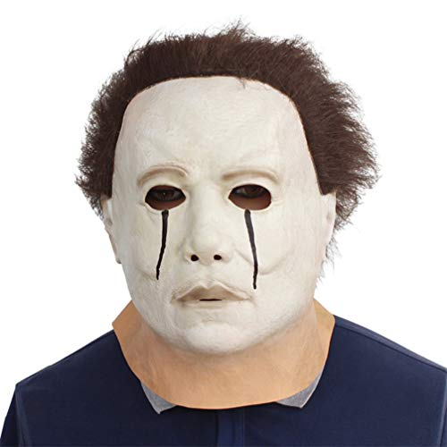 YuStar Michael Myers Tränen Latex Horror Maske Halloween Make Up Party Kostüm Full Head Deluxe mit Haar