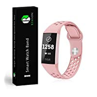 Fitbit Charge 3 Remson Silicone Sports Waterproof Strap Band Small - Pink/RM-0273