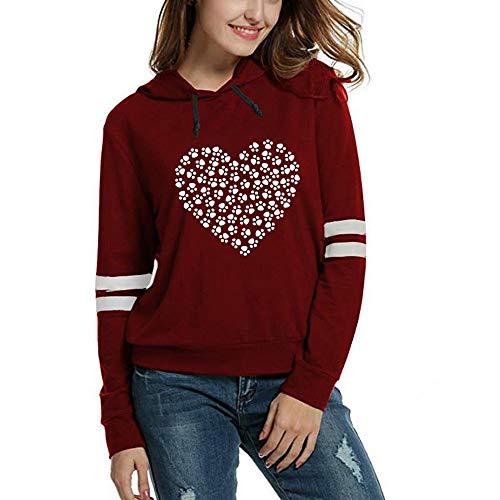 Sweatshirts Damen Fashion Print Langarm mit Kapuze Solid Pullover Tops Bluse Shirt SANFASHION