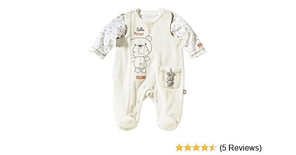 Bornino Baby Strampler Set 2-TLG // Nicki Strampler//Langarmshirt mit B/ärchen-Print//beige