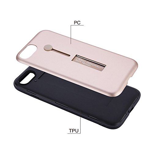 """MOONCASE iPhone 7 Coque, Ultra Slim Robuste PC Bumper Housse Dual Layer Antichoc avec Support Protection Kits Case pour iPhone 7 4.7"""" Argent Golden"""