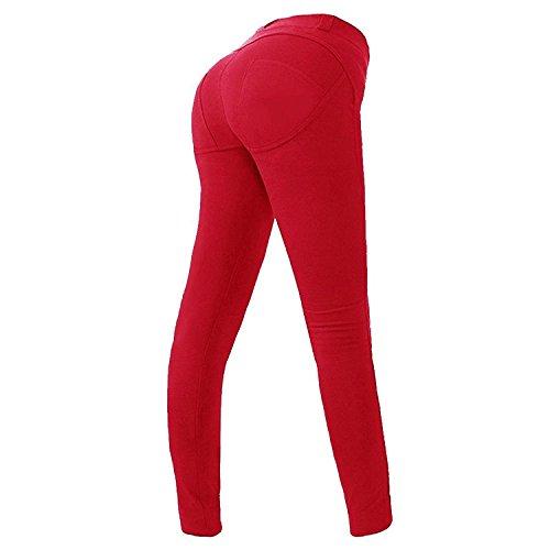 H&l Sportlichen Schuh (Minetom Hoch Elastizität Push Up Hüfte Hose Fitness Bleistift Hose Dünn Fitnessstudio Breath Leggings Skinny Jeans Rot EU L)