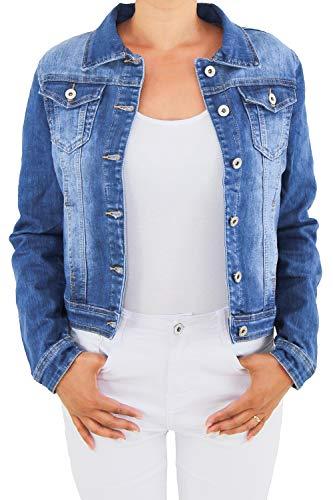 Sotala Damen Jeansjacke Damenjacke Kurze Denim Stretch Jeans Jacke Übergangsjacke Blau NP015 L/40 -