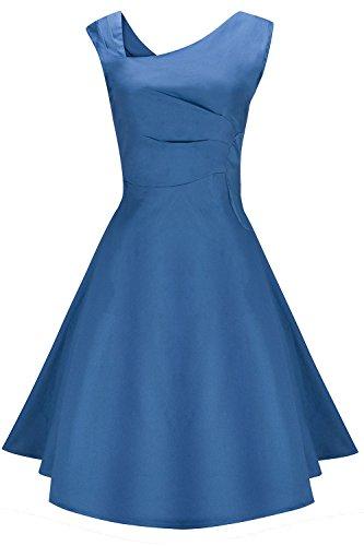 Axoe Damen 50er Einfarbiges Rockabilly Kleid Elegante Audrey Hepburn Swing Vintage Festliche...