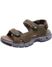 2b51ed7a39d CAMEL CROWN Mens Sports Outdoor Sandals Leather Walking Sandals Summer  Casual Beach Open Toe Athletic Hiking