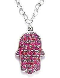 c62e0aaf44d7 Colgante con hamsa - Collar Shemá Israel y mano de Fátima - Dije judío de  plata