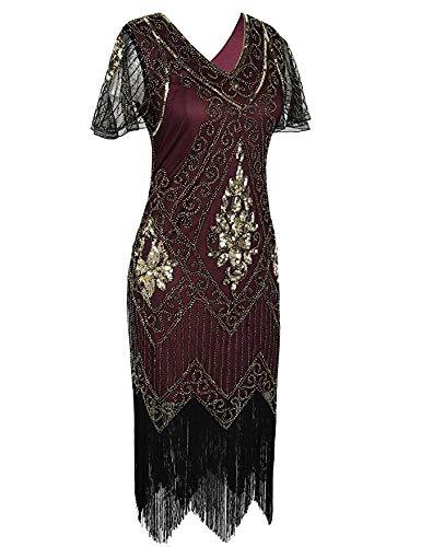 (MATTE Women es Gatsby Dress 1920er Pathoins Art Deco Charleston Cocktail Dress with Sleeve,XL)