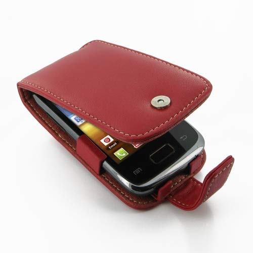 PDair Handarbeit Leder Hülle - Leather Flip Case for Samsung Galaxy Y Duos GT-S6102 (Red)
