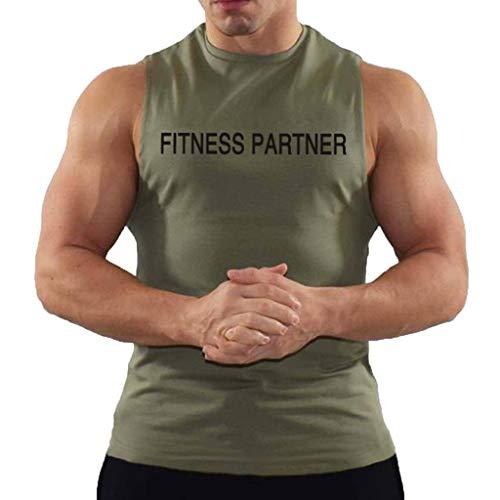 Tops Herren Sommer Shirts Basics Baumwolle Tank Tops Fitness Running Polo Bluse Strand Hemden Herbst 2019 Neu Qmber Fashion Schnelltrocknende Sportweste Komfortabel/Grün,XXL -