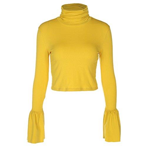 LINNUO Femme Col Roulé Crop Top Pullover Bluse Couleur Unie Élégant Épissure Manche Trompette T-Shirt Jaune