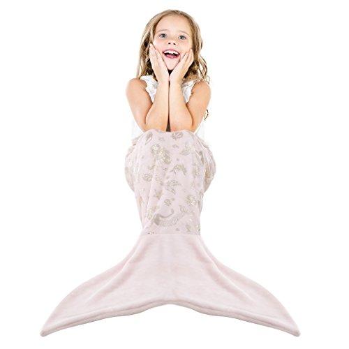 LANGRIA Meerjungfrau Decke mit Neckholder für klein Mädchen Kinder Kuscheldecke Glitzernde Flanell Decke Fischschwanz Decke für Bett Sofa 50x140cm Hell Rosa (Bett-decke)