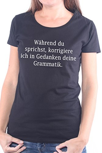 Womens-girlie Girl Tee (Mister Merchandise Ladies Frauen Damen T-Shirt Während du sprichst, korrigiere ich in Gedanken deine Grammatik. , Größe: L, Farbe: Schwarz)