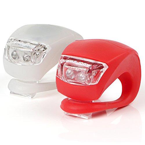 Neu 2 LED Silikon Clip-On FahrradBeleuchtung Bicycle Bike Leuchten 1 Weiße und 1 Rote Leuchte