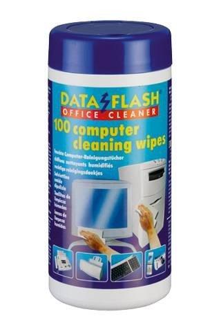 Nasse Reinigungstücher (Feuchte Reinigungstücher, Nasse, Dataflash DF 1512, 100x in Spender Box für PC und Bürogeräte, DF1512)