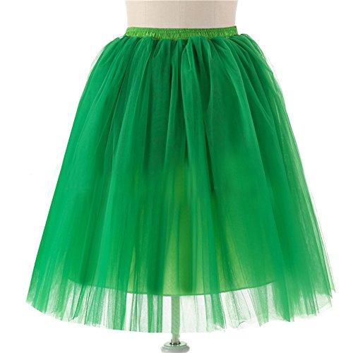 Honeystore Damen's 5 Layer Knielanger Rock Elastic Bund Tutu Prinzessin Tütü Tutu Petticoat Ballettrock One Size (Diy Kostüm Hippie Halloween)