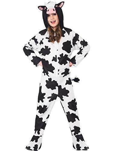 Luxuspiraten - Kinder Jungen Mädchen Kostüm Plüsch Kuh Kalb Cow Fell Einteiler Onesie Overall Jumpsuit, perfekt für Karneval, Fasching und Fastnacht, 140-152, - Plüsch Kuh Kostüm