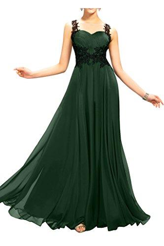 Sunvary Chiffon pizzo e posteriore trasparente, per damigella d'onore per abito Wedding Guest Dark Green