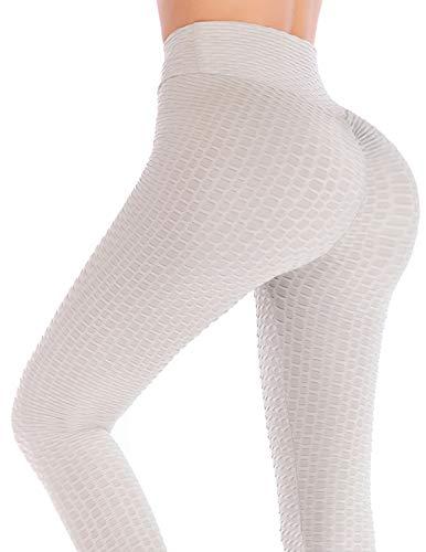 AFUT High Waist Gym Fitness Legging Damen Yoga Hosen Gefaltet Tights Slim Sporthose Dehnbar Jogginghose Workout Sport Leggins Po Push Up Weich Fitnesshose für Frauen (Gefaltet Bund)