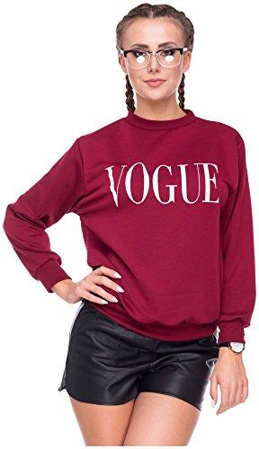 5d3e8db2851d Damen Sweater Sweatshirt Pullover Pulli Vogue Logo-Print Weinrot S M