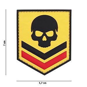 Patch 3D PVC Bouclier Belgique Skull Jaune / Cosplay / Airsoft / Camouflage
