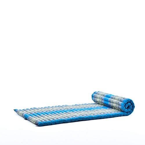 Leewadee Rollbare Thai Matte Gästematratze Yogamatte Massagematte Ökologisches Naturprodukt, 200x76x5 cm, Kapok, hellblau
