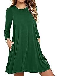 KOLY Moda Abito Casual da Taschino a Maniche Lunghe da Donna T-Shirt da  Sera da Sera Allentata Vestito Mini Abito… d20fa151970