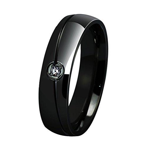 HIJONES Einfache Stil Köper Diamant Hochzeits Band für Paare Größe 57 (18.1)(Schwarz) (Männer Diamant-hochzeit Band-größe 13)