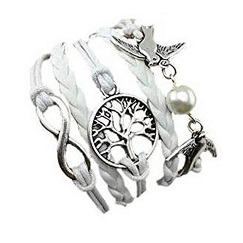 iCerber® Armband Unendlichkeit Baum des Lebens Taube und Perle Silber Weiß Infinity Besser Lederband anhänger handgemachte verstellbare Taube Leder Multilayer Armband Armband