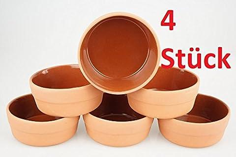 4 Stück Auflaufformen Greixonera Cazuela aus Ton (Außenmaße Ø 13cm - Höhe 5cm - naturbelassen - kein Keramik!) von KD/ für Tapas Gratin Güvec/ sauber verarbeitet - einwandfreie Glasur (innen)