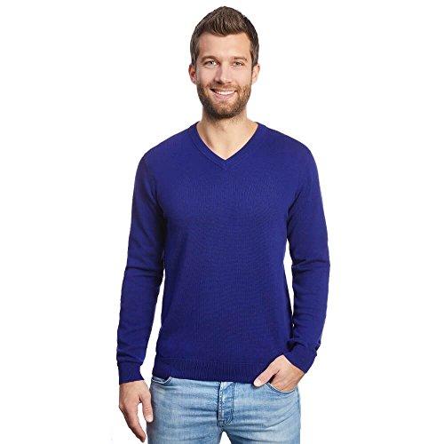 ALLBOW V-Ausschnitt Herren Pullover Baumwolle, Business Pulli Männer, Blau, XL -