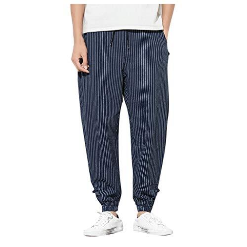 SHE.White Herrenhose Leinen-Hose Freizeit Streifen Trousers Loose Tapered Pants Taktische Funktionale Große Größe Hose mit Kordelzug M-5XL -