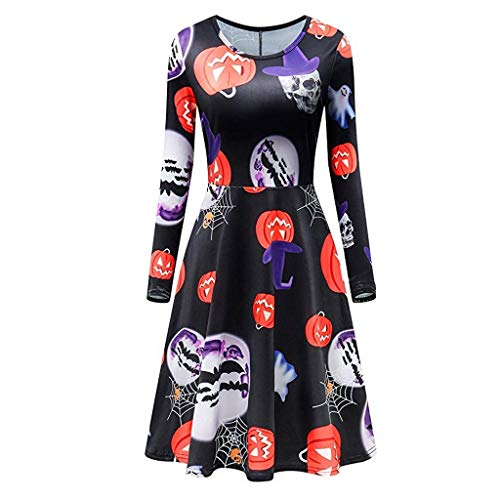 Vectry Damen Kleider Mode Halloween Kürbis Muster Langarm Shirt Rundhals Party Swing Kleid Casual Tops Bluse Loose Fitting Karneval Festival Kostüm Rot - Beliebte Kostüm Für Paare