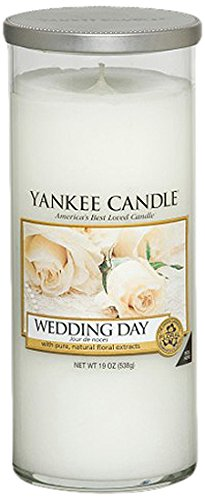 Yankee Candle 1286551E Decor L Pillar Wedding Day Duftkerze, Glas, weiß, 8,3 x 8,3 x 19,2 cm