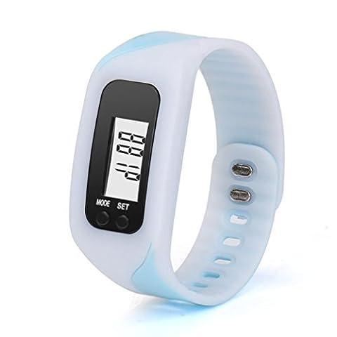 FeiTong Des sports Bracelet Bracelet, Suivi de la condition physique avec Pédomètre Run Step Distance de marche Calorie Compteur Numérique LCD Montre Bracelet (Blanc)