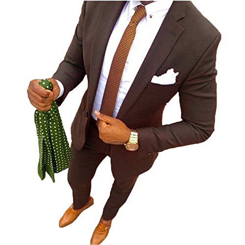 YSMO Herren 2 Stück Anzüge Slim Business Anzug Best Man Männlich Mantel