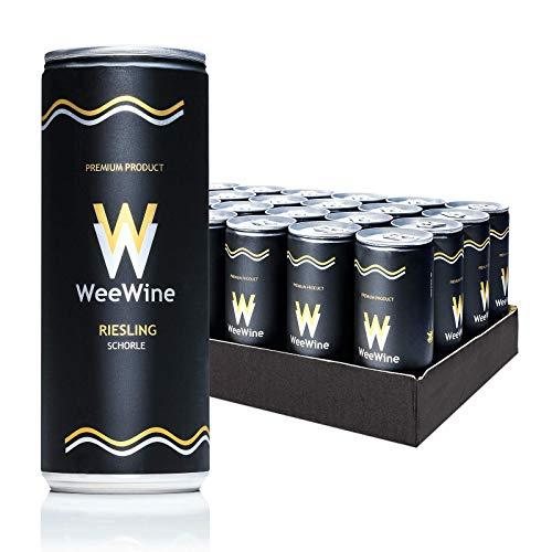 WeeWine Weinschorle – RIESLING | Weißweinschorle aus pfälzer Qualitätswein | feinherb | 24er...