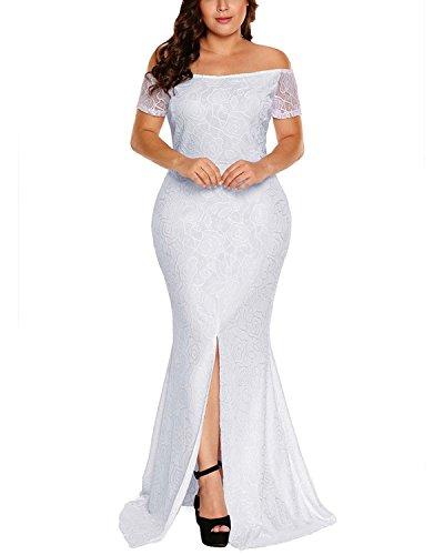 Plus Größe Weiße Hochzeits-kleider (ABYOXI Damen Lange Meerjungfrau Schulterfrei Spitzenkleid/ Einfach Festlich Cocktailkleid Abendkleid Weiß DE 44-46)