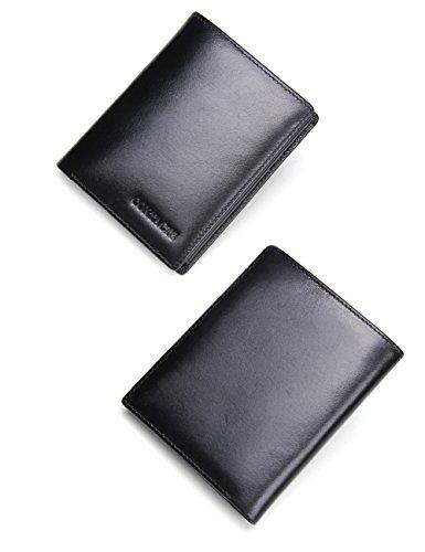 Contacts Männer Geldbeutel echtes Leder Tri Fold Short Wallet mit Foto / Kartenhalter Schwarz (Leder Passcase Schwarz Wallet)