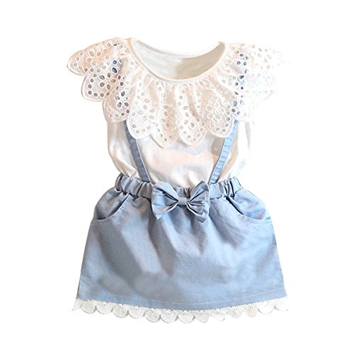 Puseky Toddler Baby Girls T-shirt Tops+Denim Braces Skirt Outfits Clothes Sets (2-3 Year)