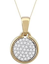Pave Prive 9ct Yellow Gold with White Diamonds Circle Necklace of 45cm