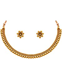 Jfl - Jewellery For Less Traditional Ethnic One Gram Gold Plated Bead Designer Necklace Set With Stud Earrings...