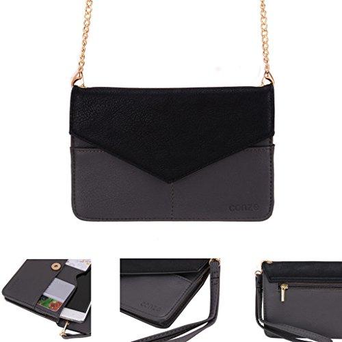 Conze da donna portafoglio tutto borsa con spallacci per Smart Phone per Celkon Campus Buddy A404/One A354C Grigio grigio grigio