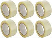 V4L Transparent Adhesive BOPP Tape 2'' inch Width x 65 Meter Length Roll - Packing Tape ( Combo of 6
