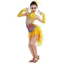 Yudesun Latino Danza Vestidos Escenario Disfraces Niña - Chicas Lentejuelas  Falda Flecos Dancewear Traje Concurso Ropa ffc02783d13