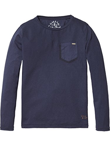 Scotch & Soda Shrunk Jungen Garment Dyed T-Shirt, Blau (Night 002), 152 (Herstellergröße: 12) (Explorer Shirt L/s)