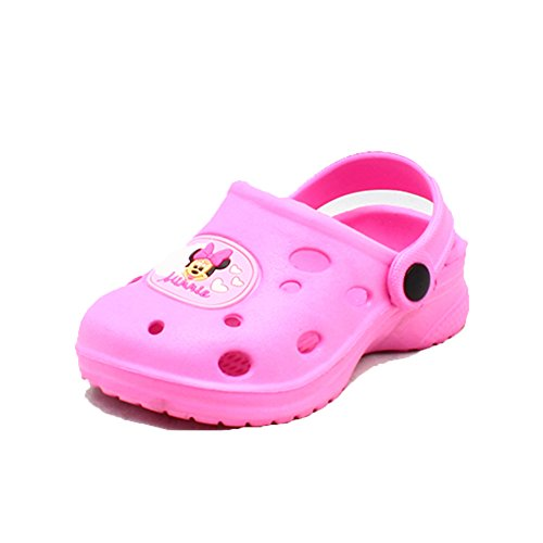 Pink rubber clog style beach shoes / sandals with minnie mouse to front pink