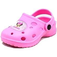 de goma de color rosa zapatos de la playa del estilo zueco / sandalias con Minnie mouse para delante